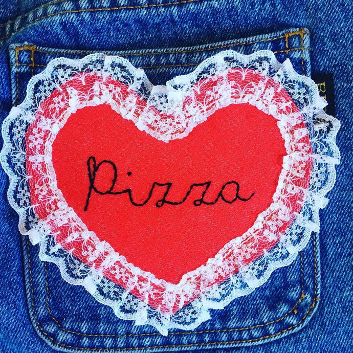 Pizza Denim and Lace hand embroidered Sew on patch/badge