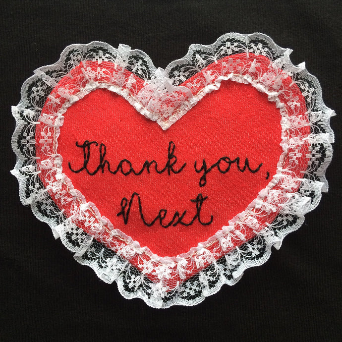 Thank You, Next Denim and Lace hand embroidered sew on patch/badge