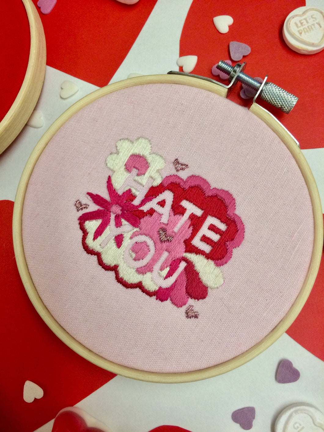 Hate You Valentines Hand Embroidery