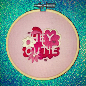Hey Cutie Valentines Hand Embroidery