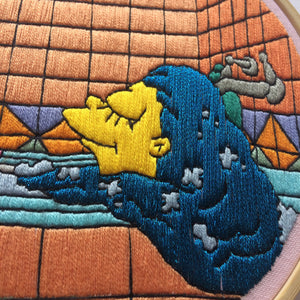 Marge Simpson in the Bath Hand Embroidery