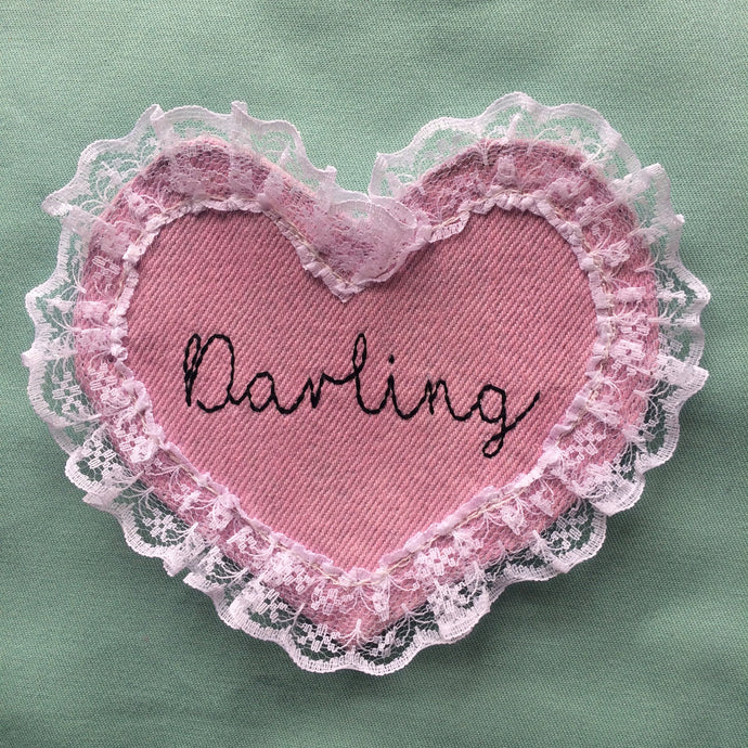 Darling Denim and Lace hand embroidered sew on patch/badge