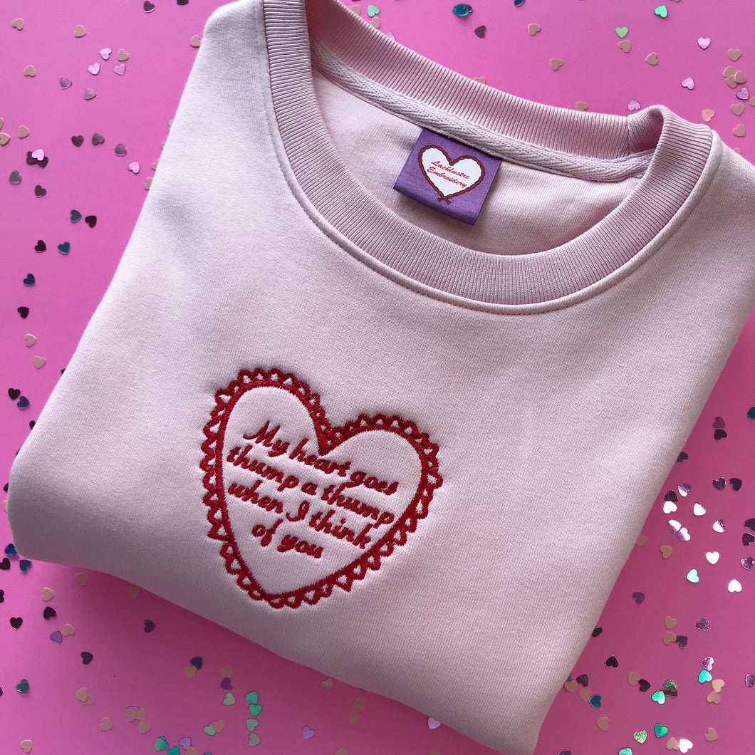 Thump a Thump Pink Embroidered Sweatshirt
