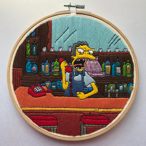 Moe on Phone Simpsons Hand Embroidery