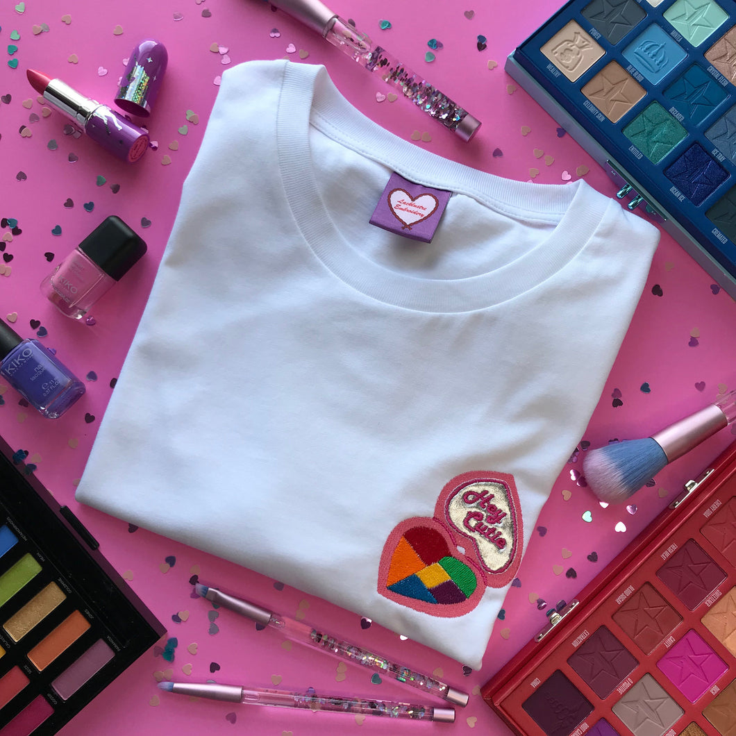 Hey Cutie Compact Mirror Embroidered Tshirt