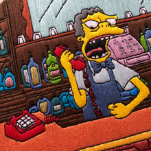 Load image into Gallery viewer, Moe on Phone Simpsons Hand Embroidery