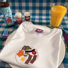 Load image into Gallery viewer, English Breakfast Fry Up Dinner Plate Embroidered Tshirt