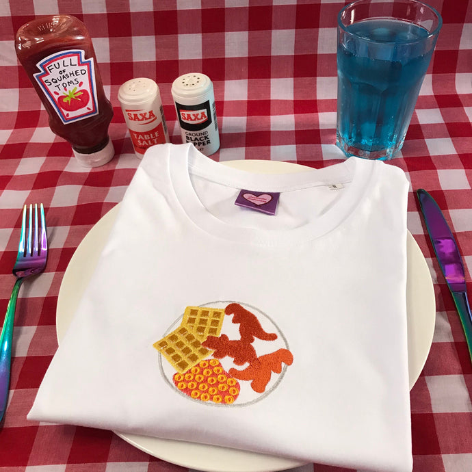 Turkey Dinosaur Dinner Plate Embroidered Tshirt