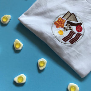English Breakfast Fry Up Dinner Plate Embroidered Tshirt