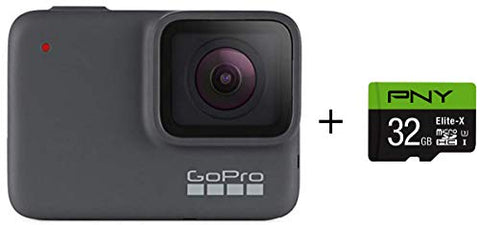 GoPro HERO7 Silver + PNY Elite-X 32GB microSDHC Card Adapter-UHS-I, U3 - Waterproof