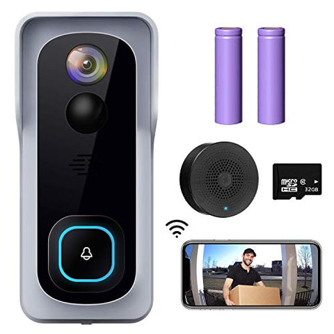 WiFi Video Doorbell Camera, XTU Wireless Doorbell Camera with Chime, 1080P HD