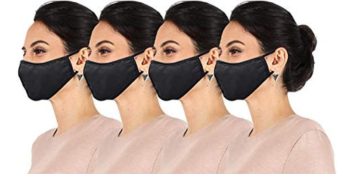 4 Pack Daily Reusable Face Cover Washable Double Layer Facial Cover, Made in USA