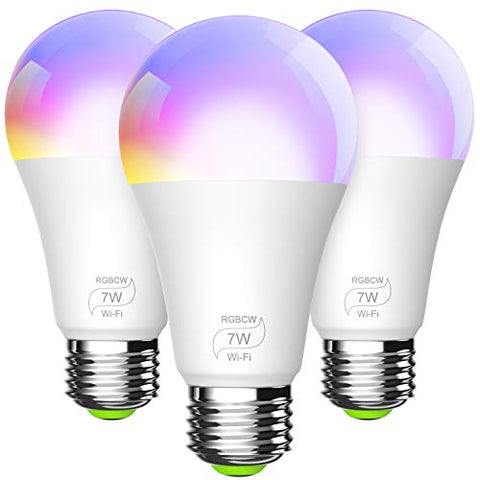 BERENNIS Smart Light Bulb, A19 E26 RGBCW WiFi Dimmable Multicolor LED Lights