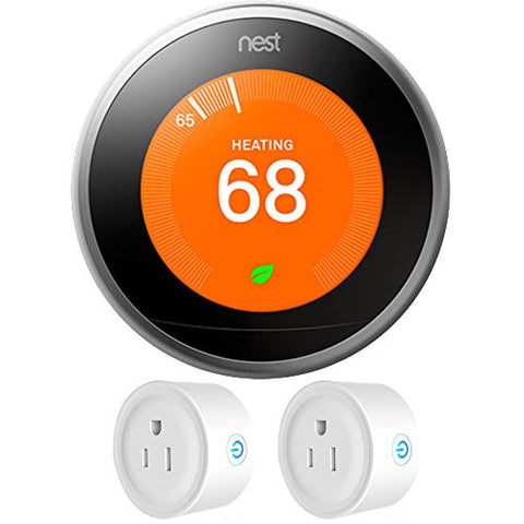 Nest (T3007ES) Learning Thermostat 3rd Gen, Stainless Steel with Deco Gear 2 Pack