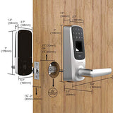 Ultraloq UL3 BT Bluetooth Fingerprint and Touchscreen Keyless Smart Door Lock, Satin Nickel