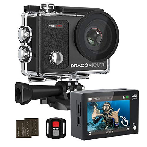 Dragon Touch 4K Action Camera Touch Screen 16MP Vision 3 Pro PC Web Camera