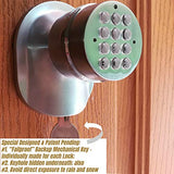 SoHoMiLL Electronic Door Knob with Backup Mechanical Key (Spring Latch Lock; Not Deadbolt; Not Phone Connected), Single Front keypad YL 99 B