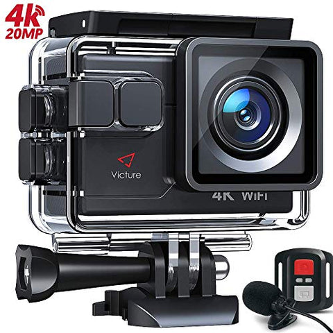 Victure AC700 4K 20MP Action Camera, PC Webcam with External Microphone Remote Control