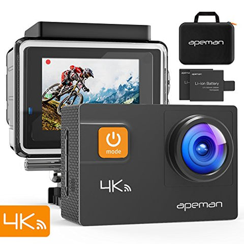 APEMAN A80 Action Camera 4K 20MP Wi-Fi Sports Cam 4X Zoom EIS 40M Waterproof