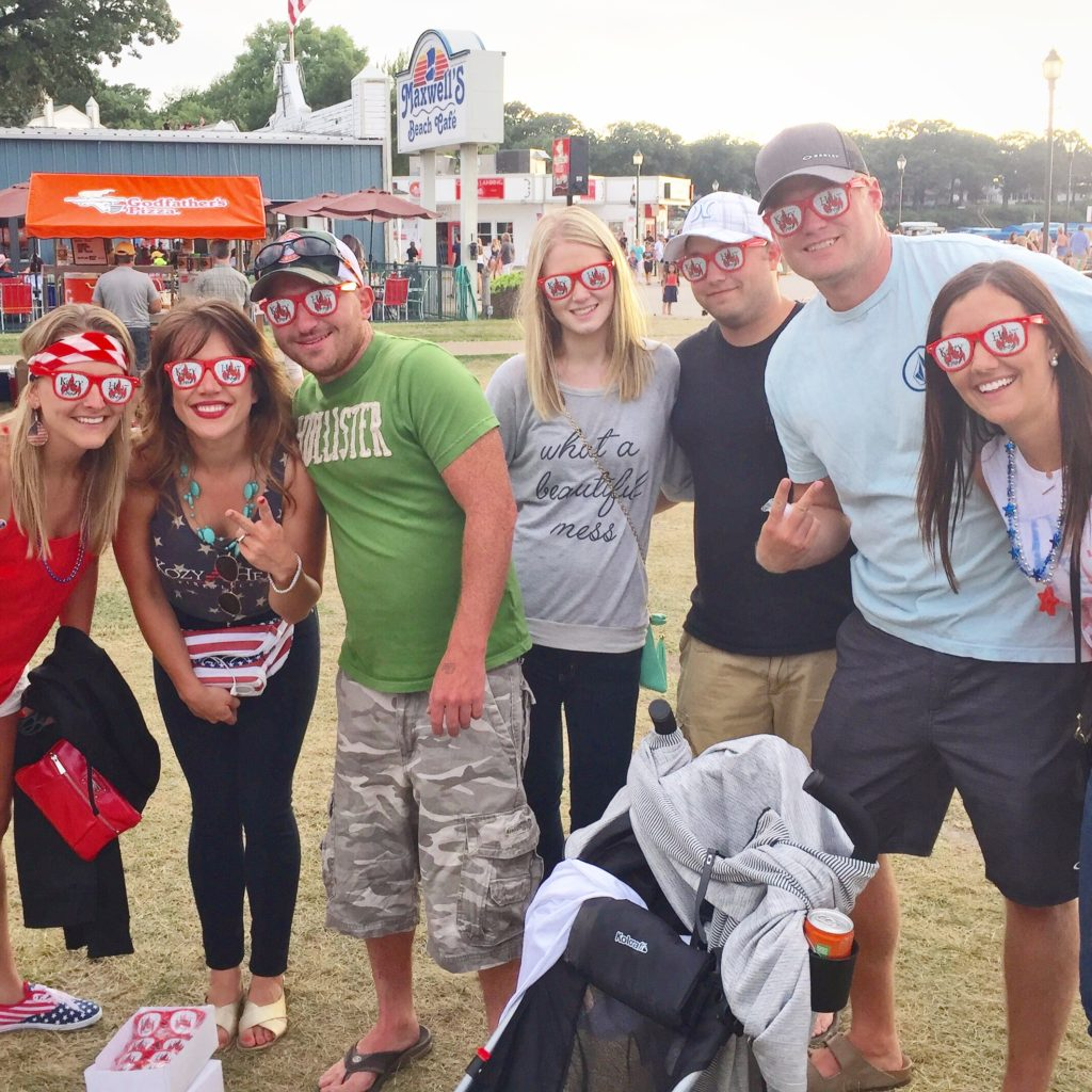 Group of customers wearing printed sunglasses