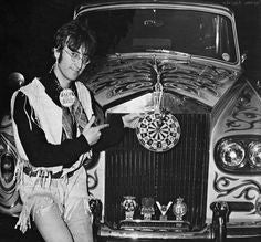 John Lennon with his paisley Rolls Royce
