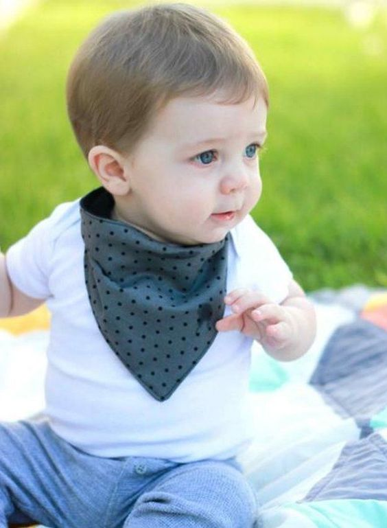 baby wearing polka dot bandana