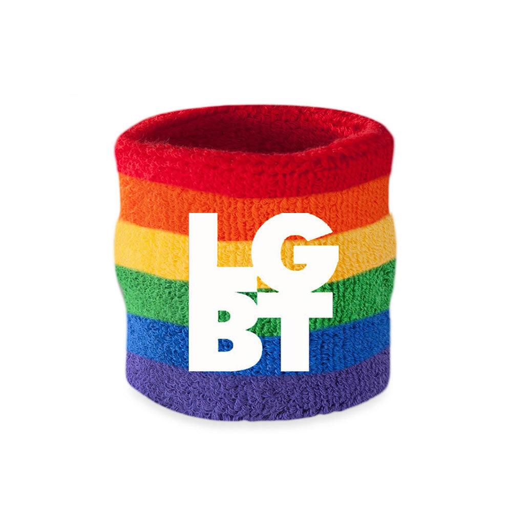 Custom Rainbow Embroidered Wristbands