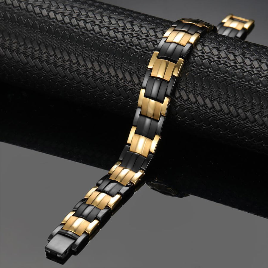 Black Gold Double Row Two Tone Bracelet-GaussTherapy