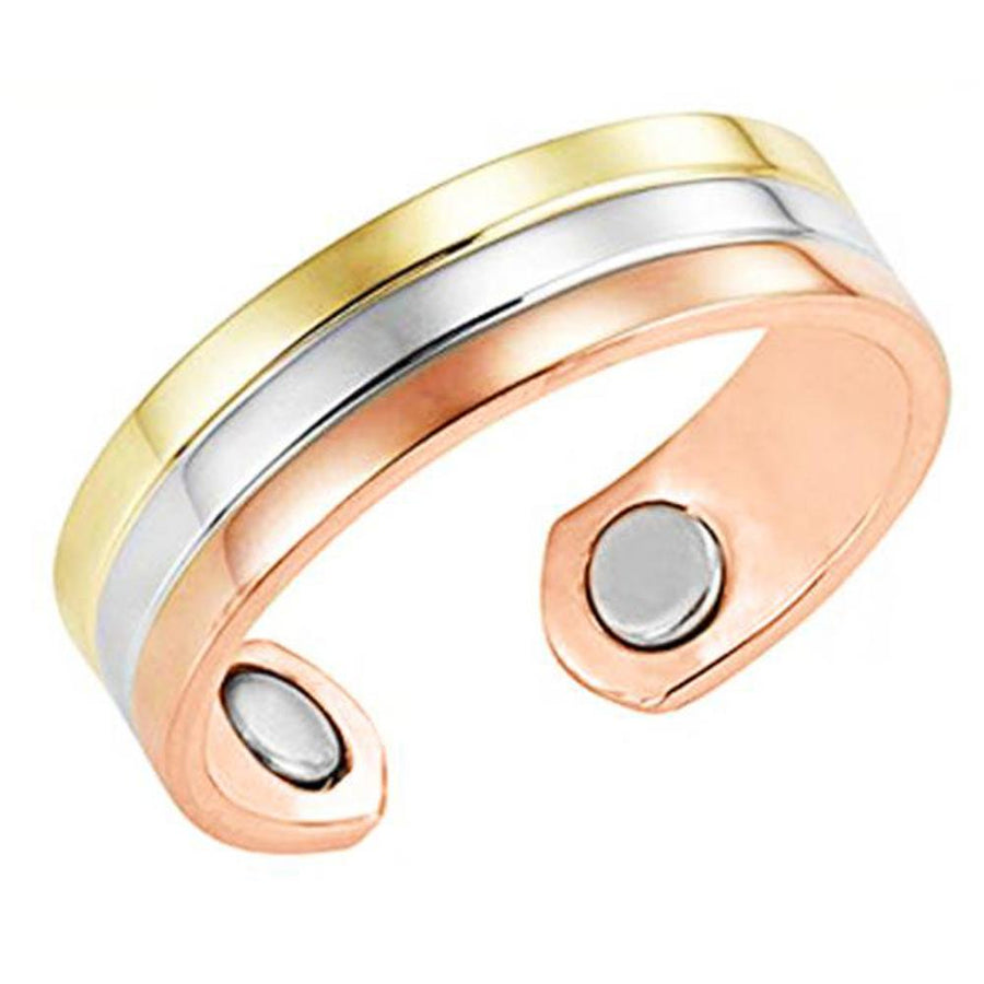 Set of Two - Three Tone Copper Magnetic Rings-GaussTherapy