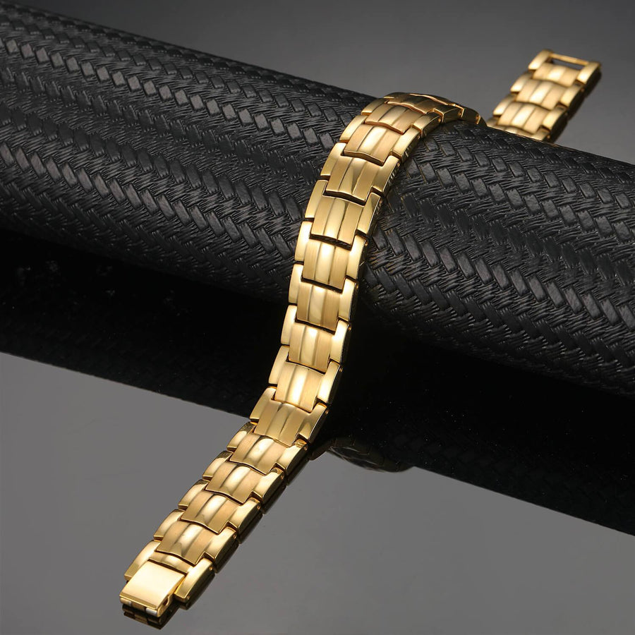 Gold Titanium Power Magnetic Therapy Bracelet-GaussTherapy