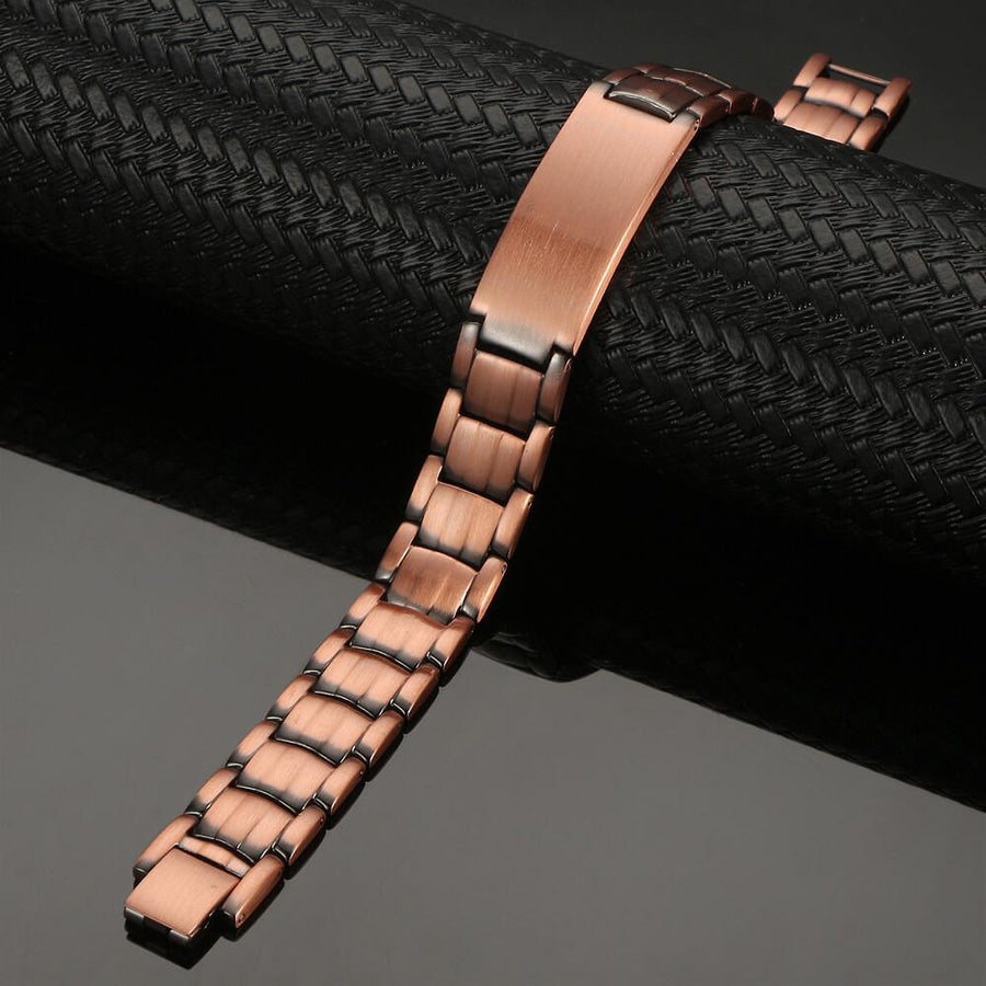 Heavy ID Copper Link Pure Magnetic Bracelet-GaussTherapy