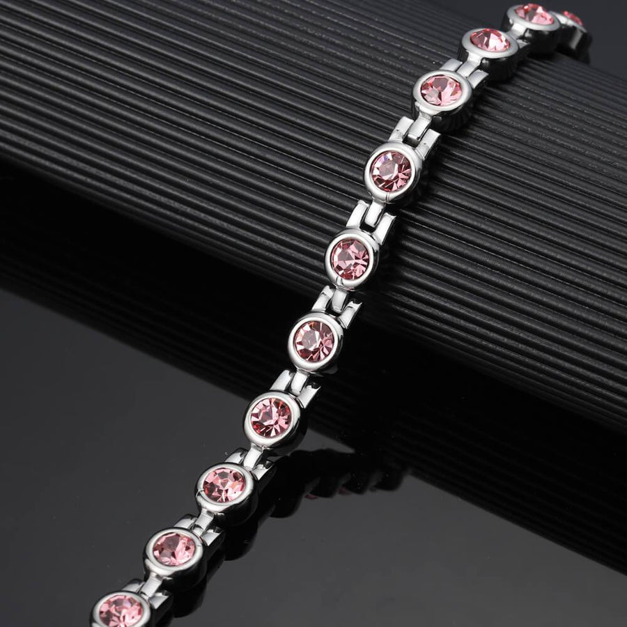 Ladies Laguna Pink Crystal Magnetic Bracelet