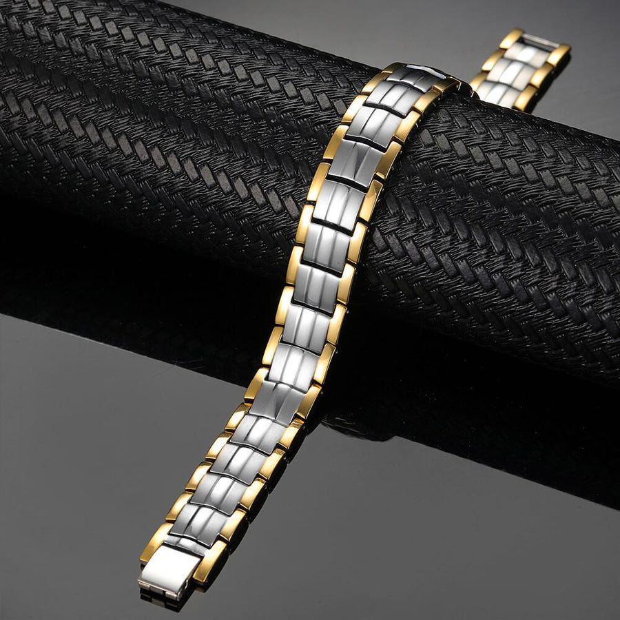 Silver Gold Titanium Strong Magnetic Bracelet-GaussTherapy