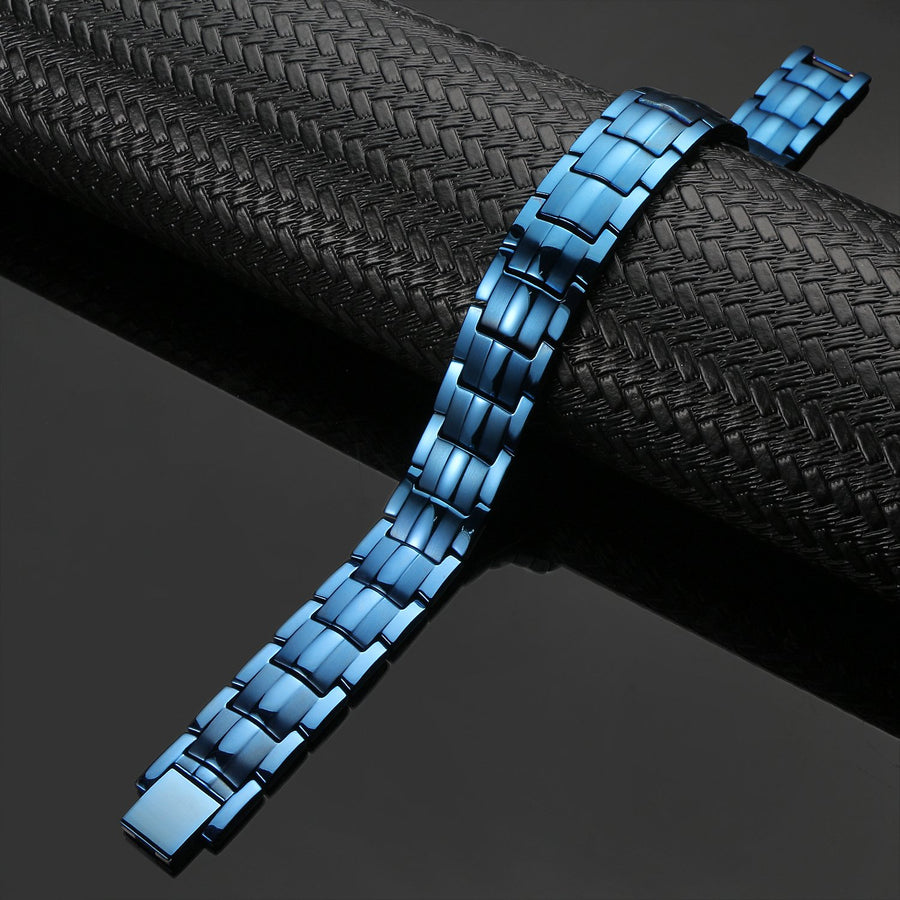 Mens Blue Titanium Strong Magnetic Therapy Bracelet-GaussTherapy