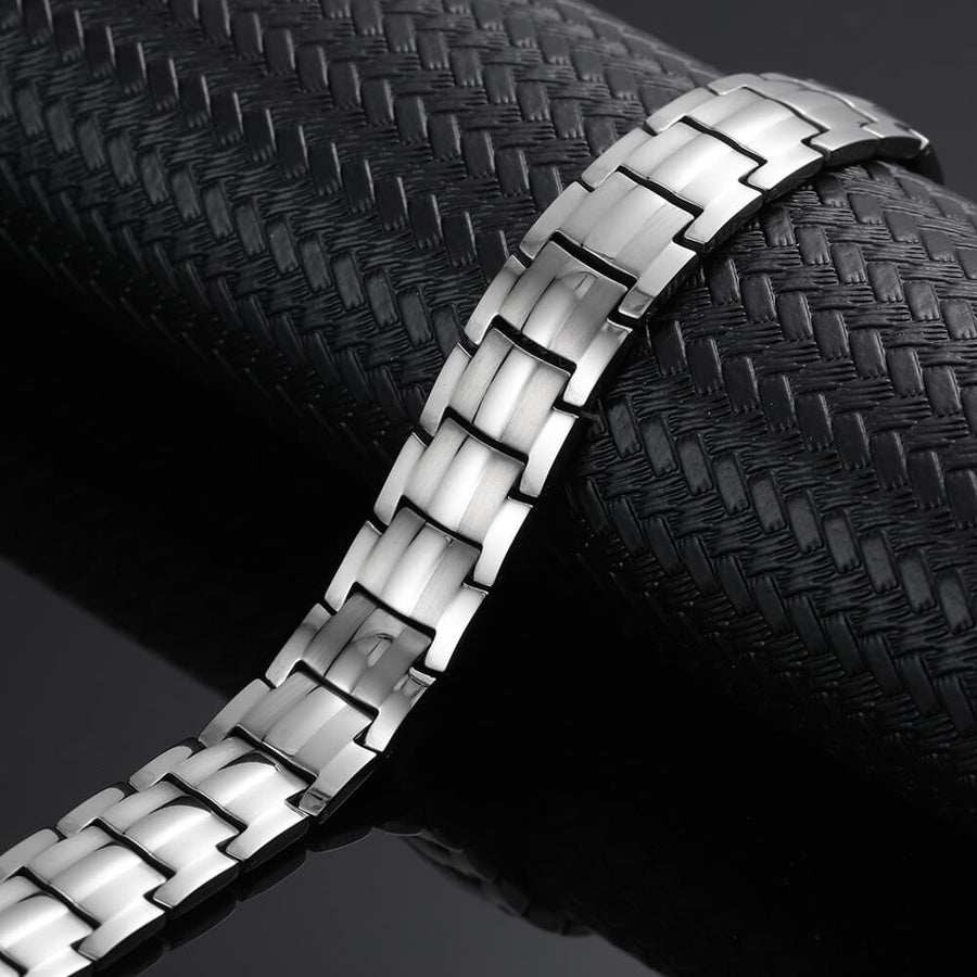 Silver Titanium Bio Energy Magnetic Bracelet-GaussTherapy