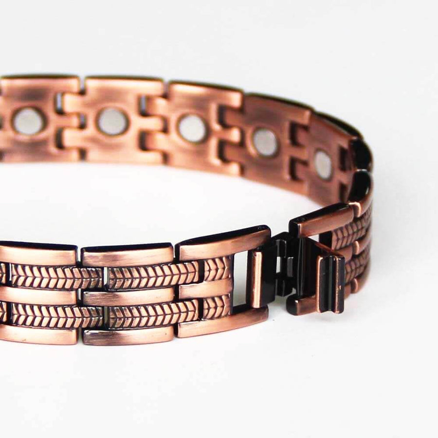 Feather Engraved Copper Magnetic Bracelet-GaussTherapy