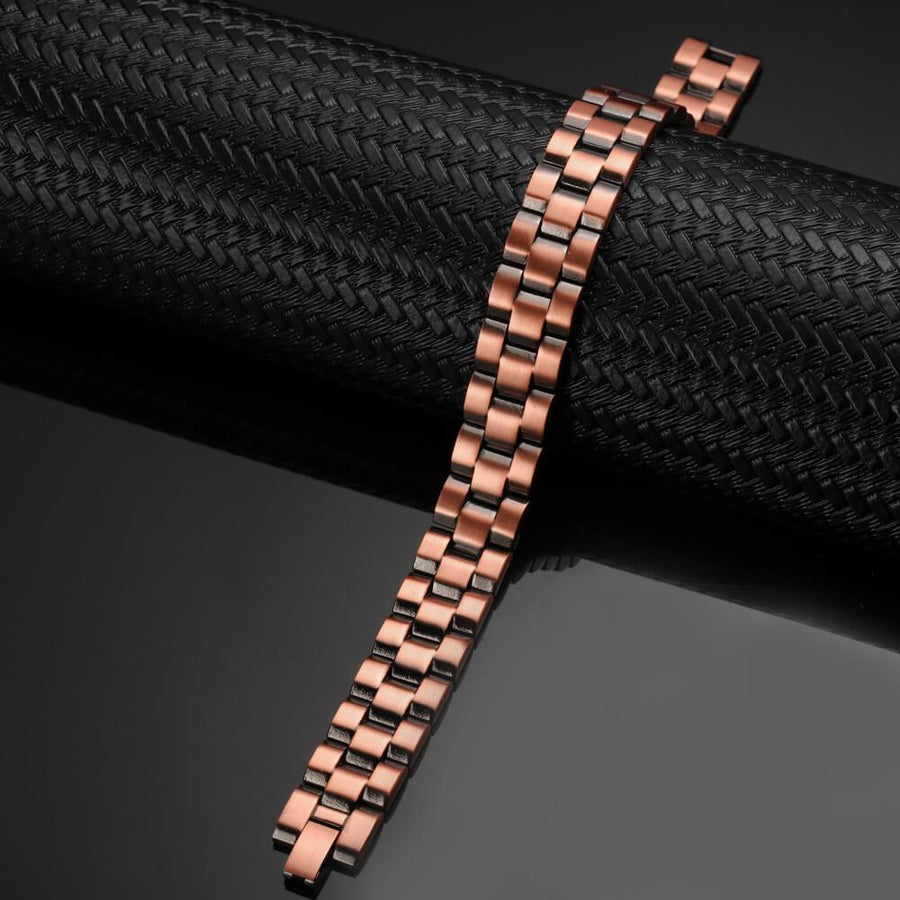 Mens Heavy Brickwork Copper Magnetic Bracelet-GaussTherapy