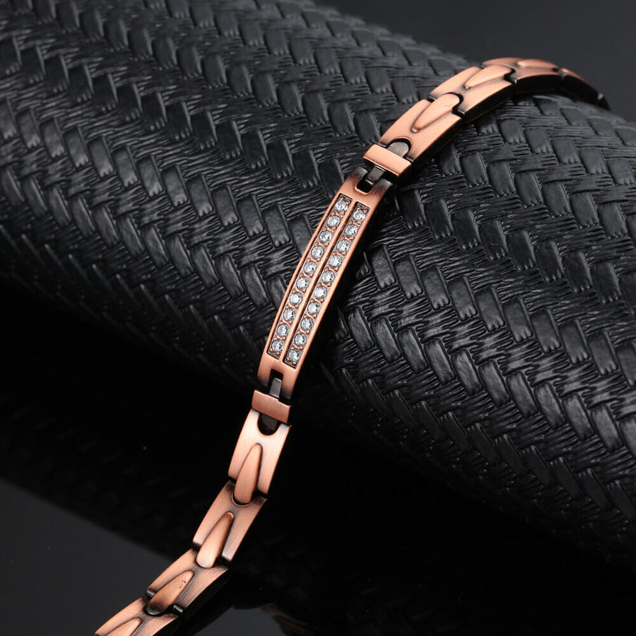 Ladies Crystal Copper Magnetic Bracelet-GaussTherapy