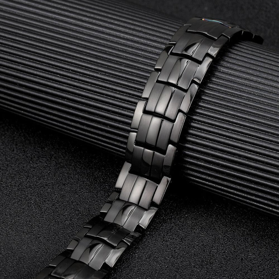 Mens Black Titanium Strong Magnetic Bracelet-GaussTherapy