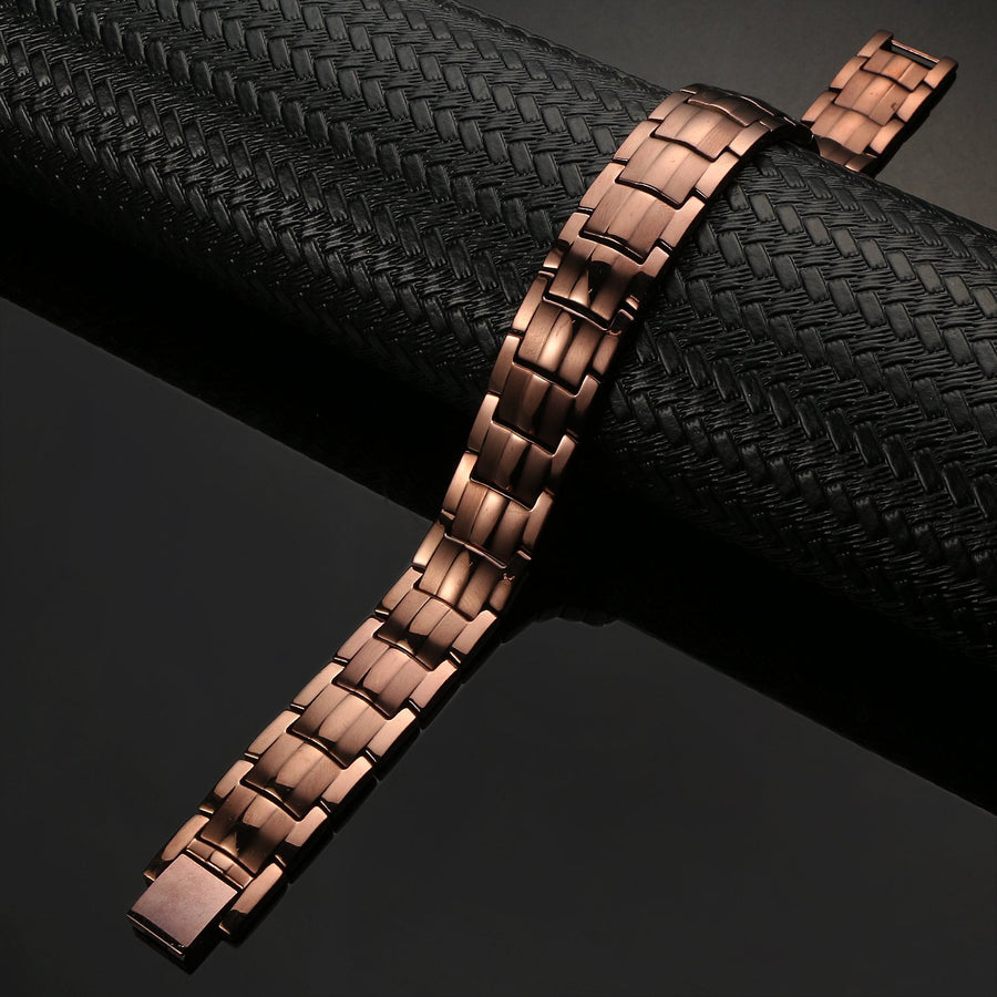 Coffee Titanium Double Row Magnetic Bracelet-GaussTherapy