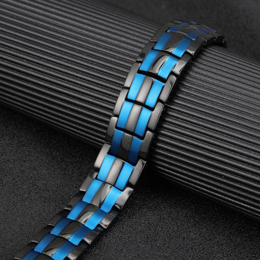 Blue Black Titanium Solid Magnetic Therapy Bracelet-GaussTherapy