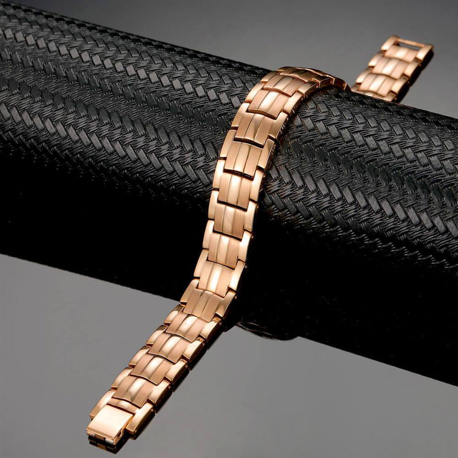 Unisex Rose Gold Titanium 4in1 Magnetic Bracelet-GaussTherapy