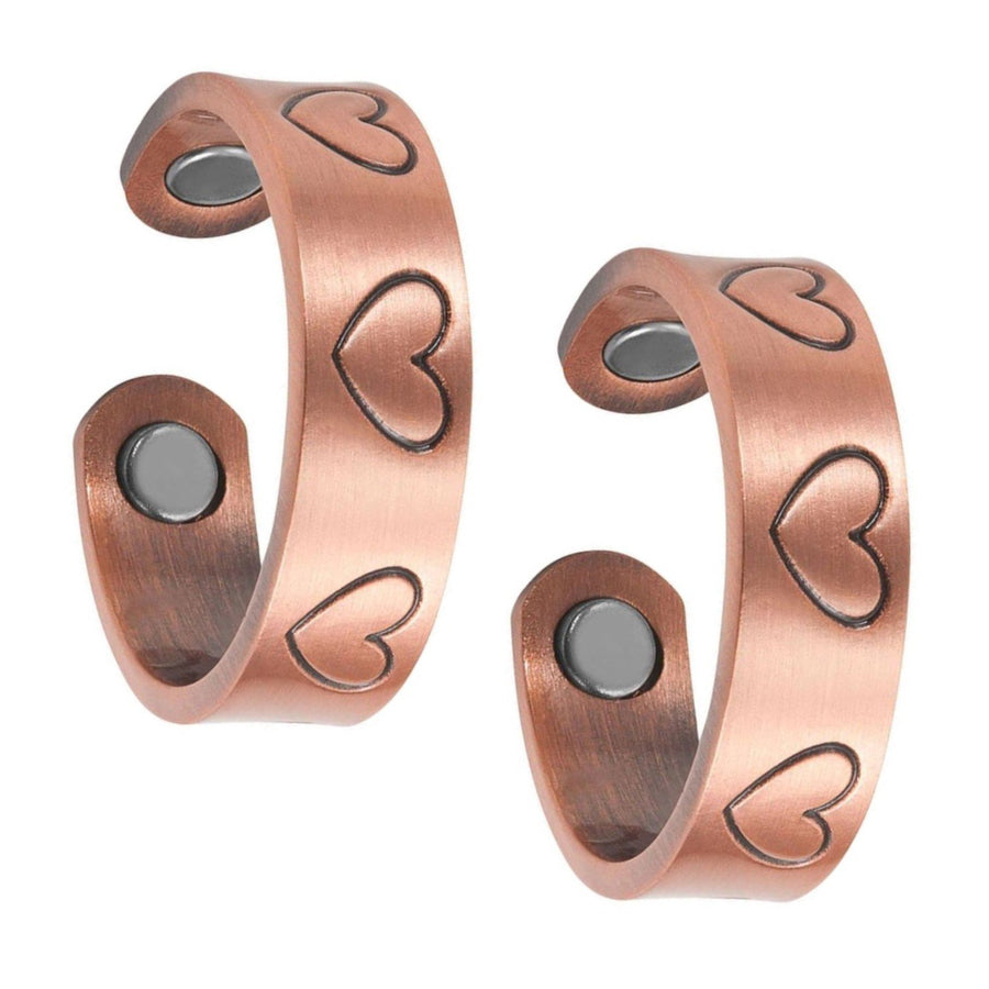 Set of Two - Love Heart Copper Magnetic Rings-GaussTherapy