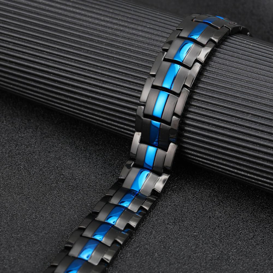 Mens Black Blue Titanium Strong Magnetic Bracelet-GaussTherapy