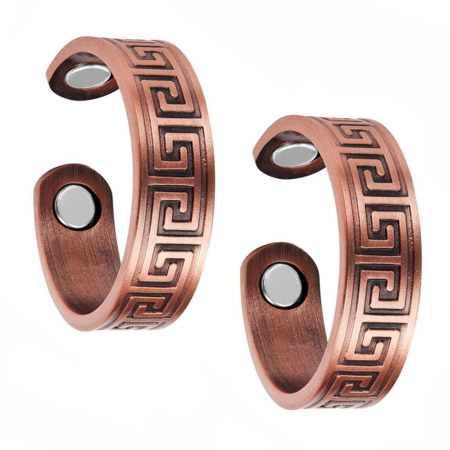 Set of Two - Greek Copper Magnetic Rings-GaussTherapy