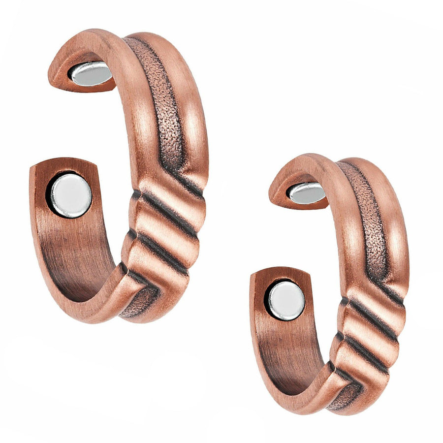 Set of Two - Twisted Copper Magnetic Rings-GaussTherapy