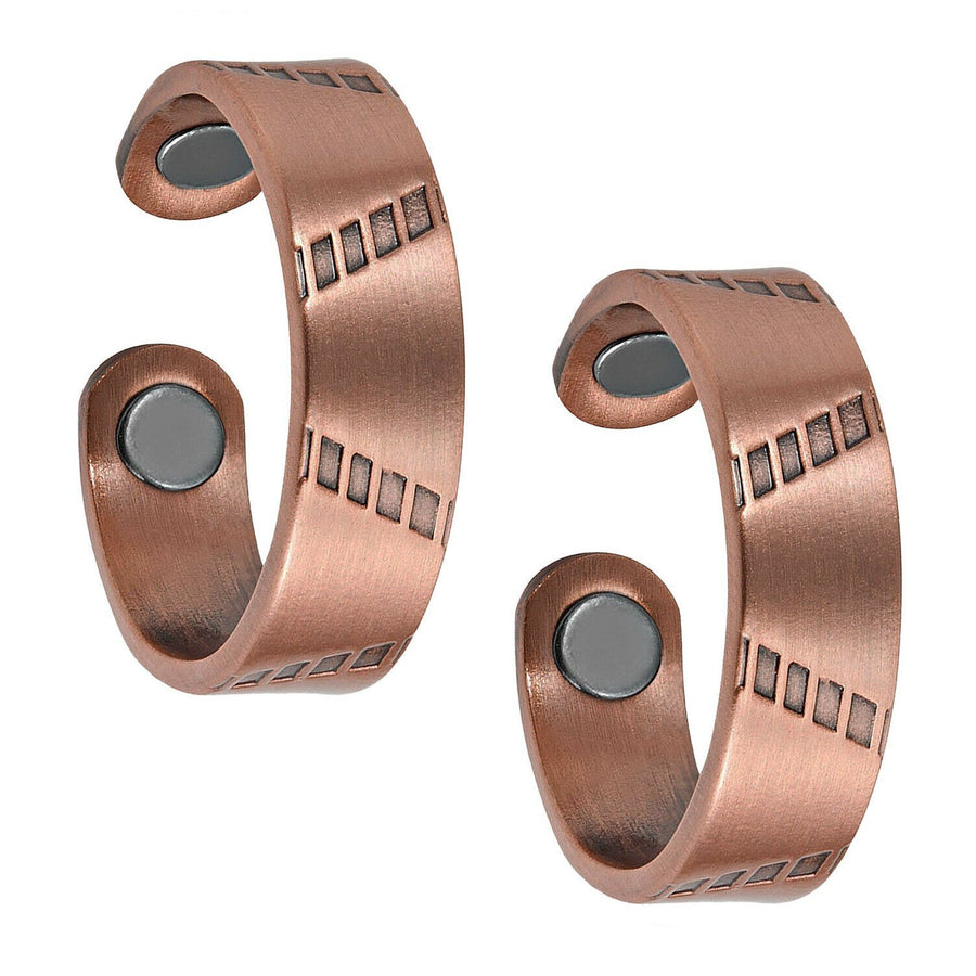 Set of Two - Brushed Copper Magnetic Rings-GaussTherapy