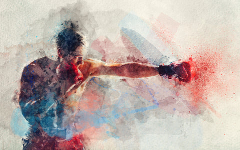 An image of a watercolor painting of a male boxer striking a blow.