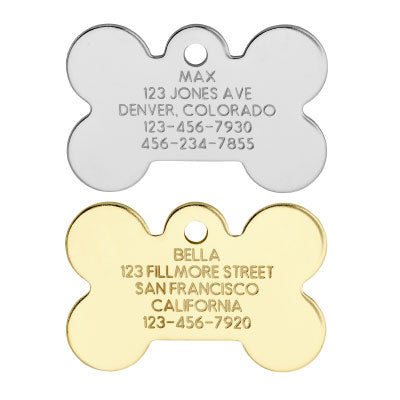 Love Your Pets Classic Bone Tag - Stainless & Brass