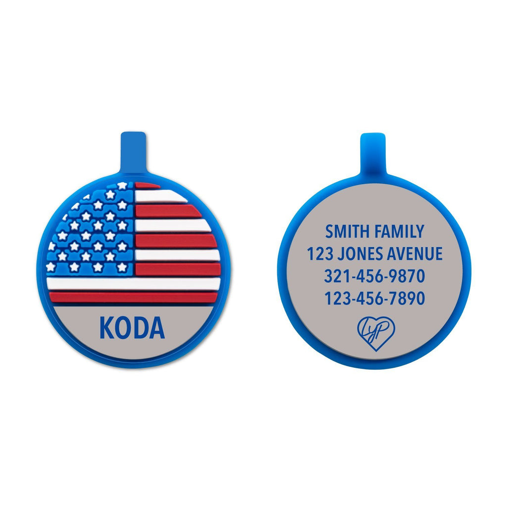 Soundless US Flag Pet Tag loveyp